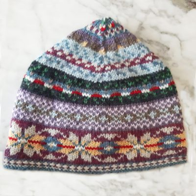 Colourful hat using With Merino DK Wool©Eleanor Caldwell