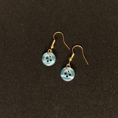 Pale Blue Button Earrings_©DuttonsforButtons
