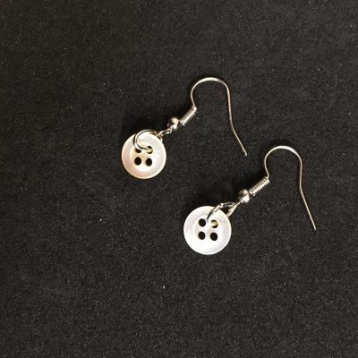 Small White Mother of Pearl Button Earrings_©DuttonsforButtons