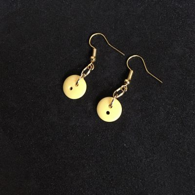 Small Yellow Button Earrings_©DuttonsforButtons
