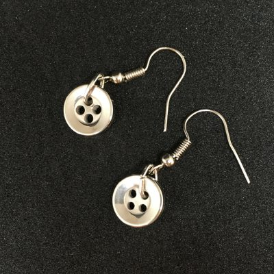 Tiny Silver Coloured Button Earrings_©DuttonsforButtons